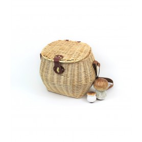 Basket of mushrooms in wicker natural - mod. lux - clear