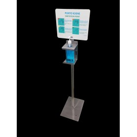 Post gel sanitizer - smart - stainless steel- with sign info